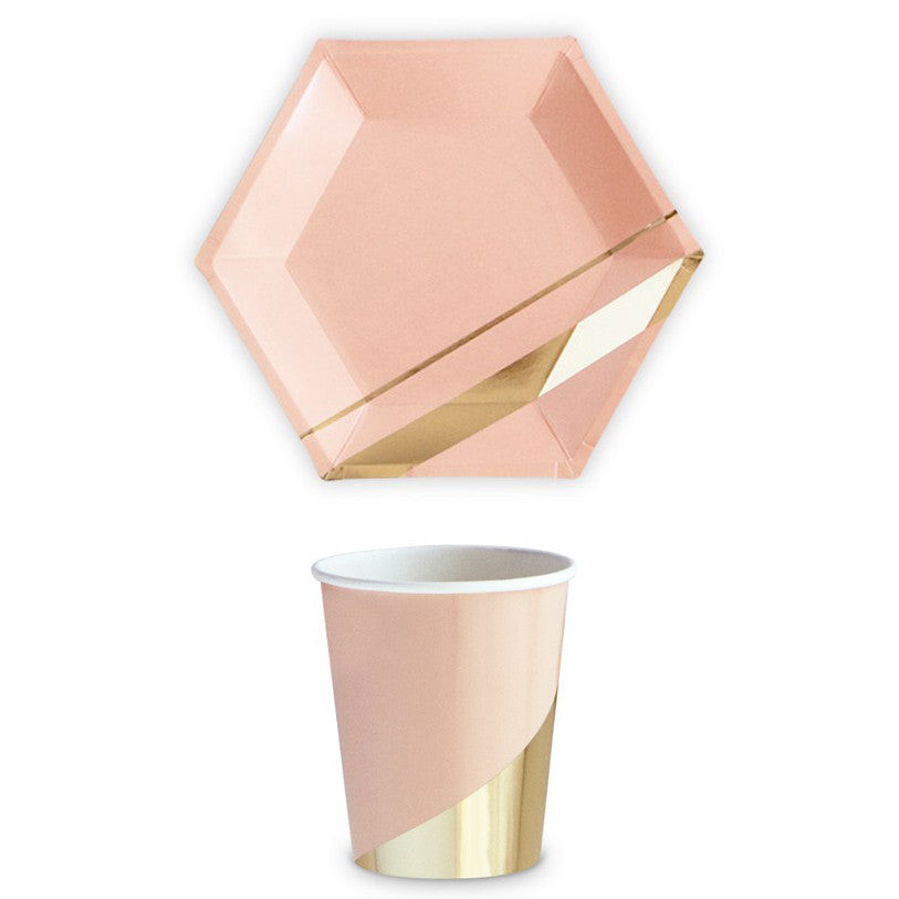 Gold and Blush 9oz Party Cup (Pack of 8)