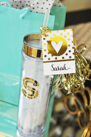 Custom Metallic Gold Monogram Party Tumbler