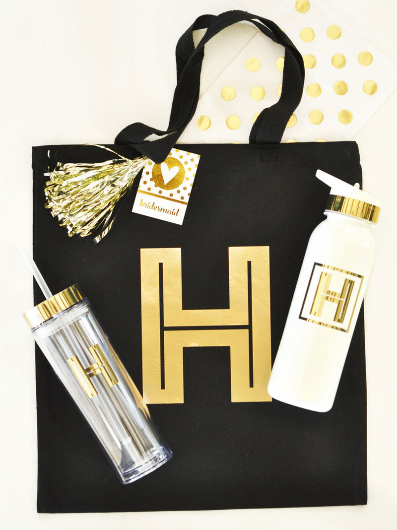 Custom Metallic Gold Monogram Sports Water Bottle Favor