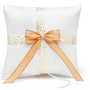 Ecru and Gold Polka Dot Wedding Ceremony Ring Pillow