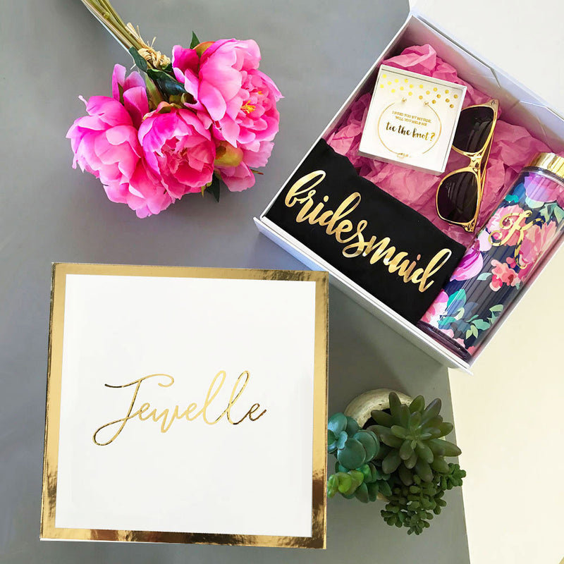 Personalized White and Gold Wedding or Party Gift Box