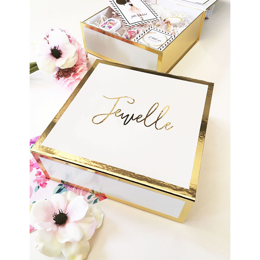 Personalized White and Gold Wedding or Party Gift Box – Candy Cake ...