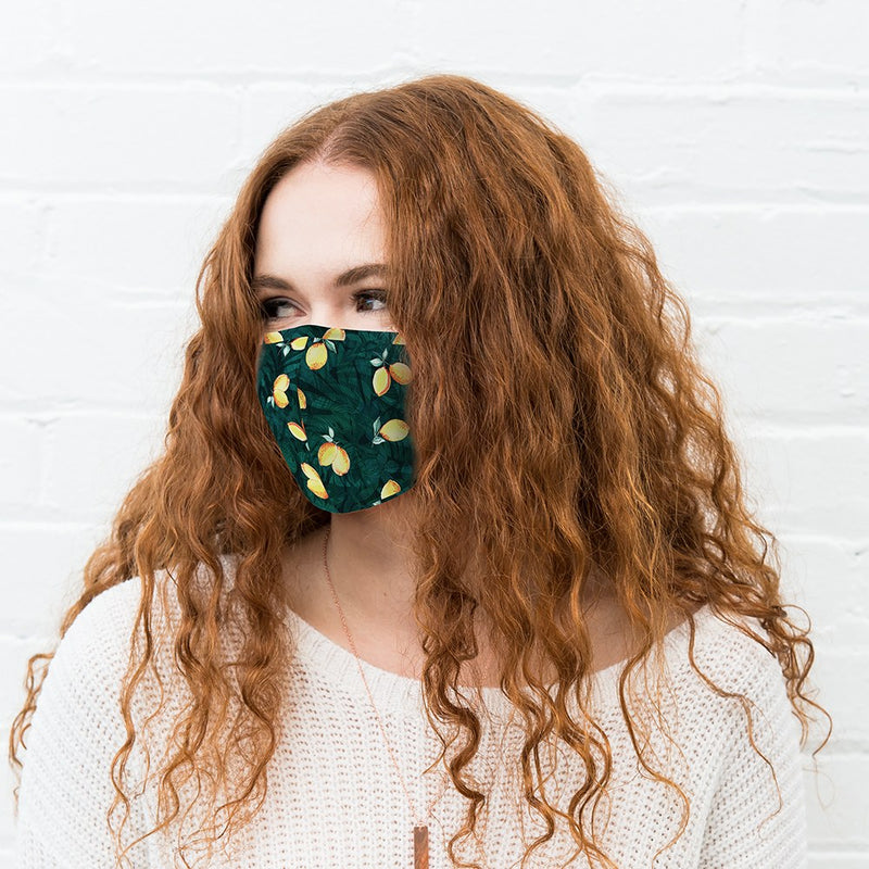 Green Reusable Cloth Face Mask with Lemons