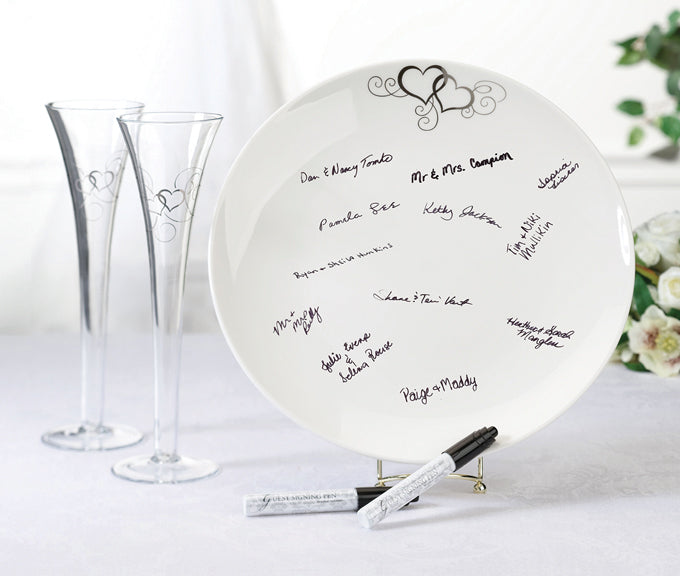 Wedding Guest Book Plate Round Signing Platter with Pens