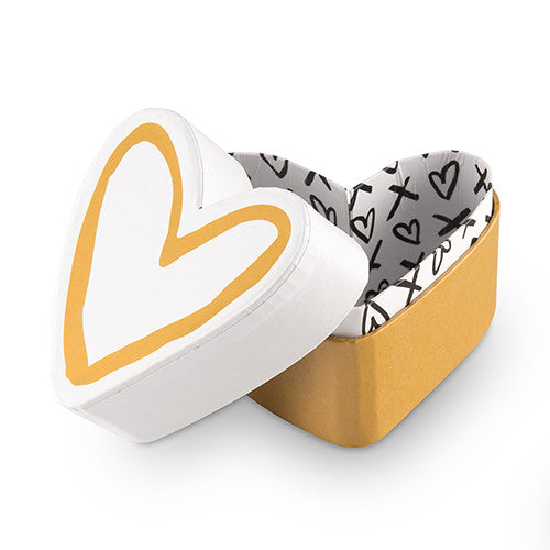 Gold and White Heart + Kisses Favor Box