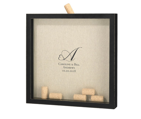 Heart Monogram Wedding Guest Book Frame for Signing Corks