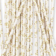 Gold Foil Hearts Party Drinking Straws