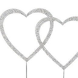 Silver and Crystal Rhinestone Double Heart Wedding Cake Topper
