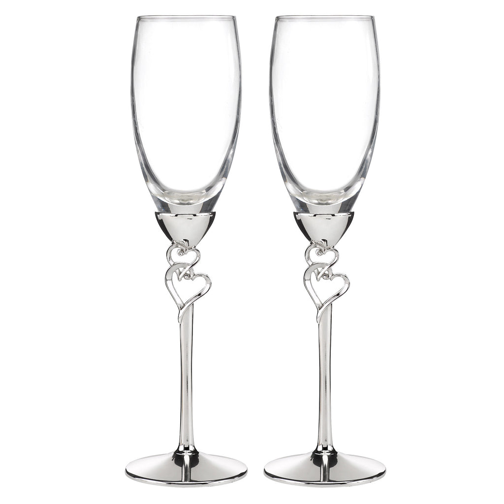 Entwined Hearts Champagne Toast Wedding Glass Set