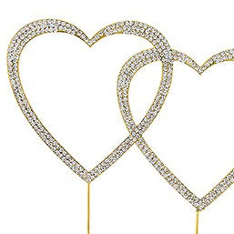 Gold and Crystal Rhinestone Double Heart Wedding Cake Topper