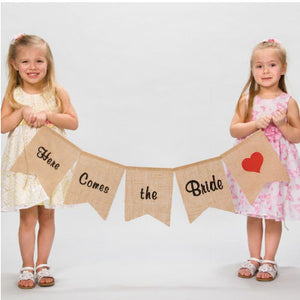 Here Comes the Bride Burlap Banner