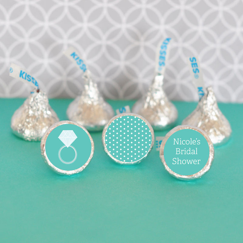 Turquoise Engagement Ring Hershey's Kisses Bridal Shower Stickers