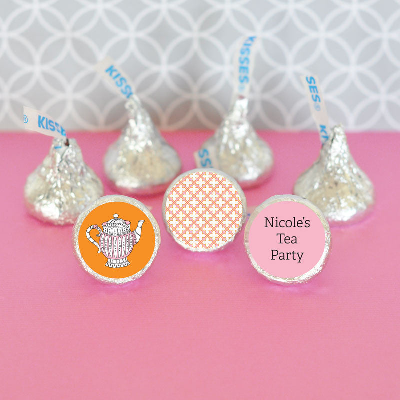 Personalized Tea Party Hersheys Kisses Stickers