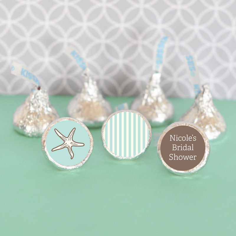 Starfish Beach Striped Hershey Kisses Wedding Favor Sticker
