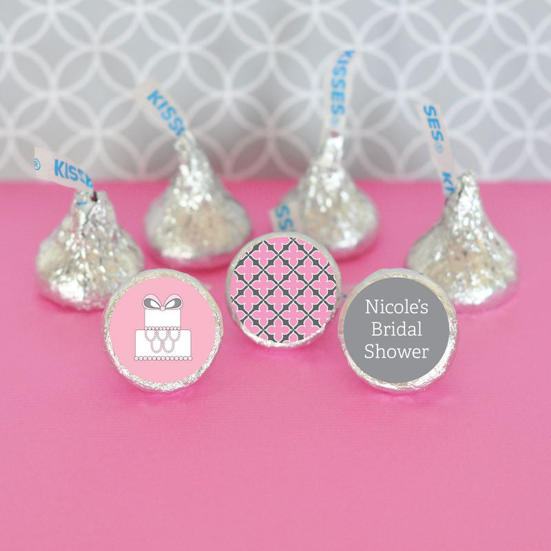 Pink and Grey Wedding Cake Hersheys Kisses Wedding Favor Stickers