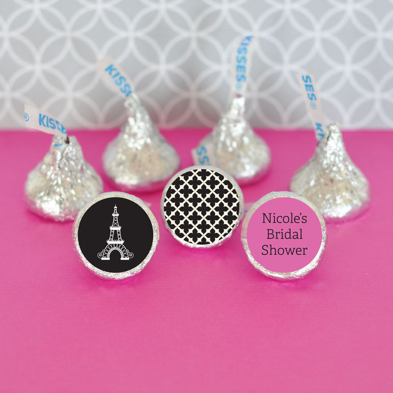 Paris Eiffel Tower Hershey's Kisses Bridal Shower Stickers