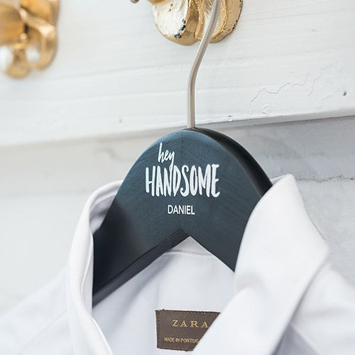 Personalized Hey Handsome Groom Groomsmen Wooden Wedding Hanger