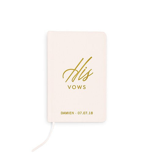 His Linen Wedding Ceremony Vows Journal Book