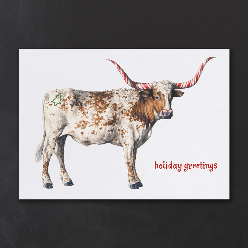 Personalized Christmas Card with Steer Cow Flair and Candy Cane Horns with Logo or Custom Message