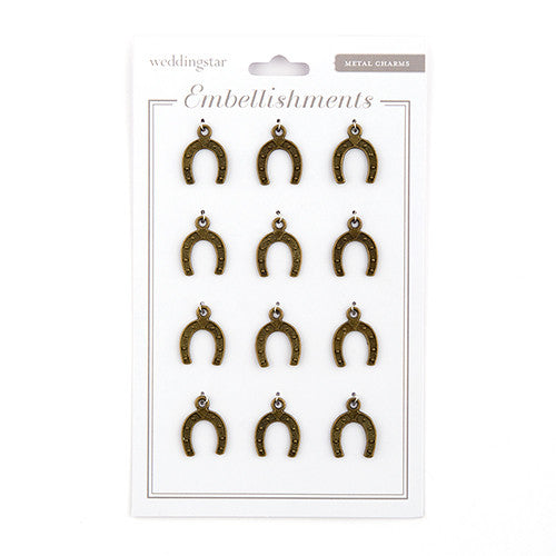 Brass Gold Horseshoe Wedding Party Favor Charms (Pack of 12)
