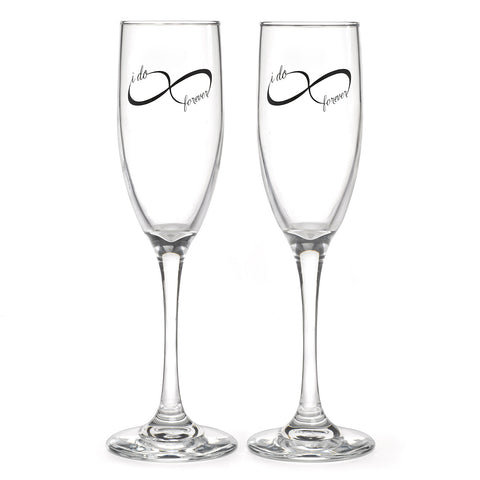 Infinity Champagne Wedding or Anniversary Glass Set