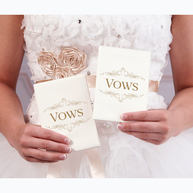 Ivory Satin Wedding Ceremony Vows Books