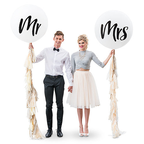 Mr and Mrs Large 36-inch Balloon with Tissue Paper Tassel Garland