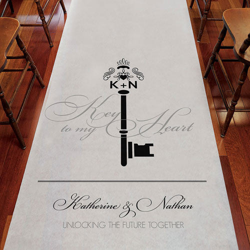 Personalized Key Monogram Wedding Aisle Runner