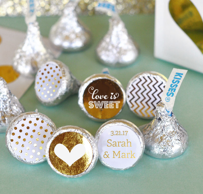 Personalized Wedding Metallic Foil Hershey's® Kisses Labels Trio
