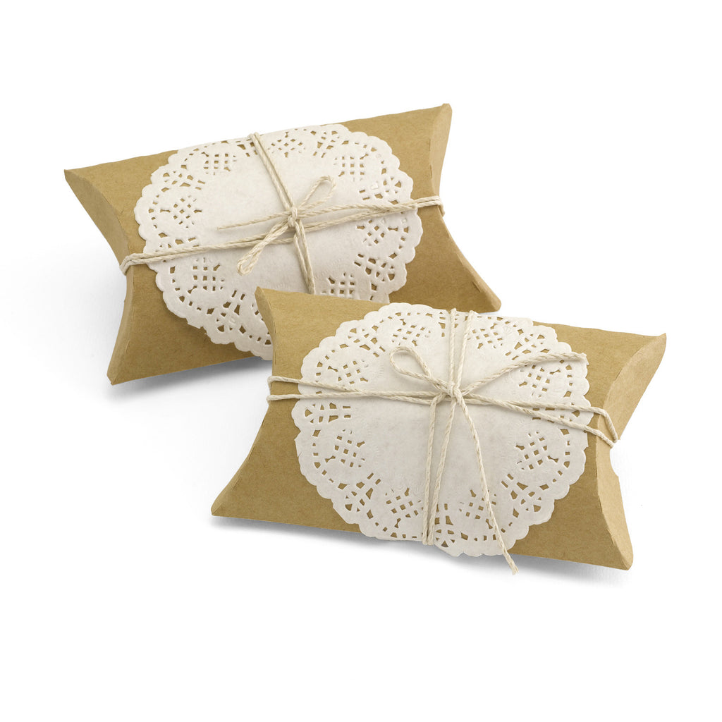 Kraft Pillow Wedding Party Favor Box with Lace and Jute