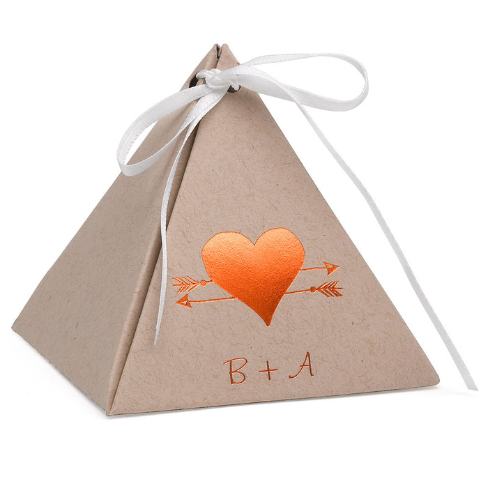 Personalized Kraft Pyramid Wedding Party Favor Box (Pack of 25)