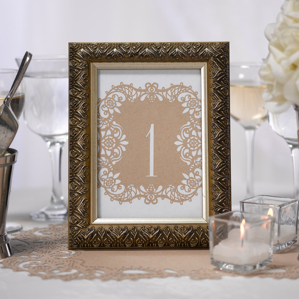 Kraft Laser Cut Wedding Party Table Number Card in a Picture Frame