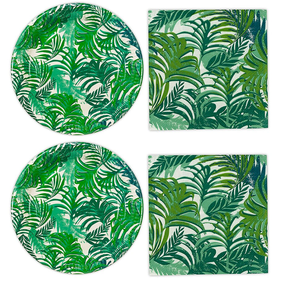 Tropical Leaves Round Paper Plates and Napkins
