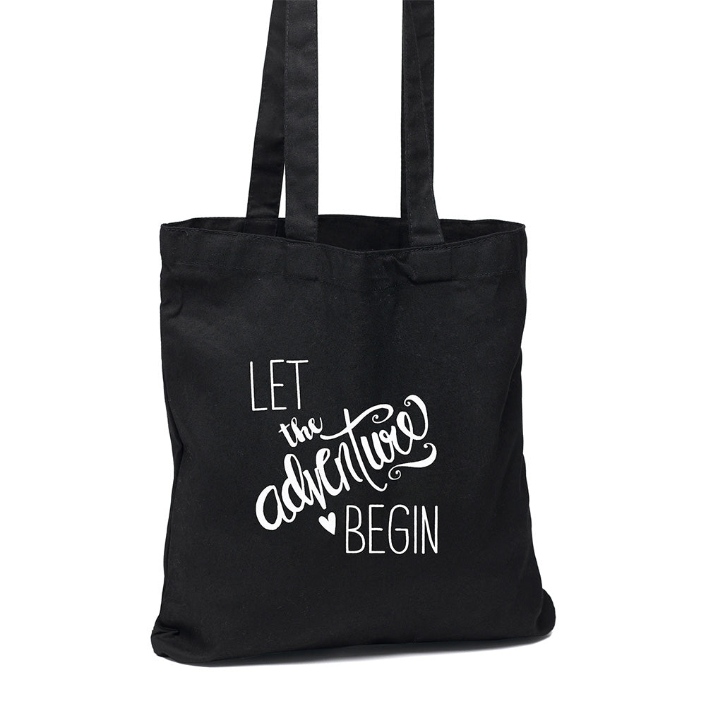 Let the Adventure Begin Black Tote Bag