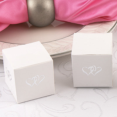 Linked Hearts White Favor Boxes (Pack of 25)