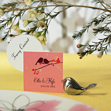 Love Bird Card Holder holding a place card.