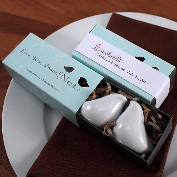 White Porcelain Love Bird Salt and Pepper Shakers Favors
