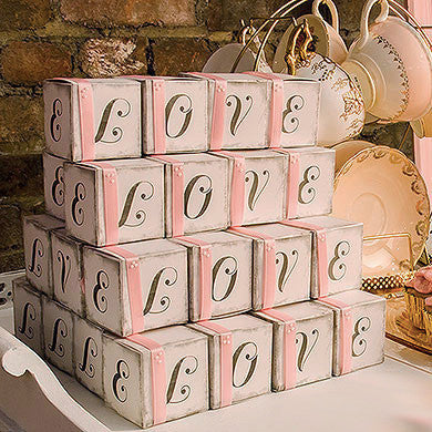 """LOVE"" Favor Boxes with Vintage Print"
