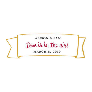 "Yellow and Red ""Love is in the Air"" Wedding Favor Banner Sticker"