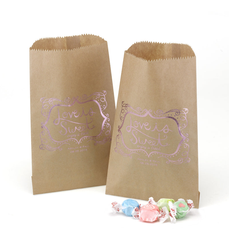 Personalized Rose Foil Love Is Sweet Favor Treat Bag