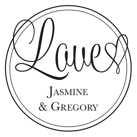 Love Personalized Rubber Stamp for Weddings and Parties