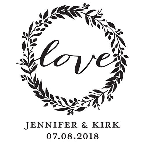 Love Wreath Personalized Rubber Stamp
