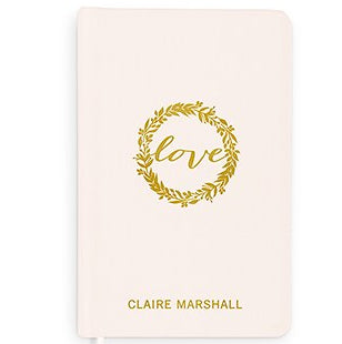 Love Wreath Personalized Linen Wedding Vows Pocket Journal