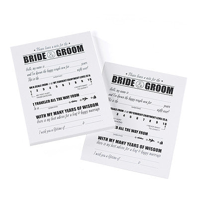 Fill-in-the-Blank Cards for the Bride and Groom