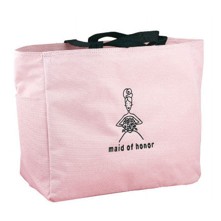 Give her a place to store all of her wedding day essentials, Pink Maid of Honor Tote Bag.