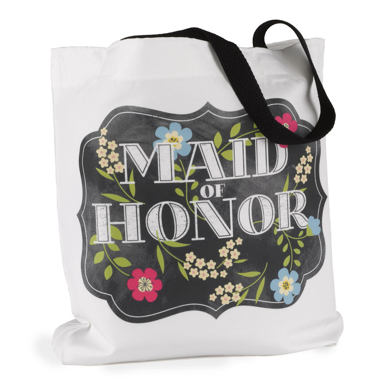 Maid of Honor Chalkboard Floral Wedding Party Tote Bag