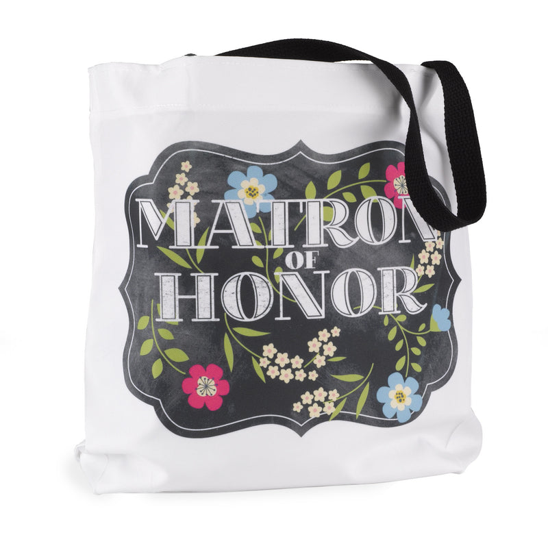 Matron of Honor Chalkboard Floral Wedding Party Tote Bag
