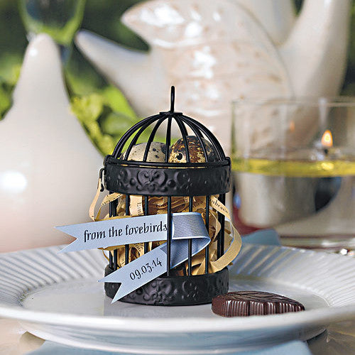 Black Mini Classic Round Decorative Birdcage on a white plate.