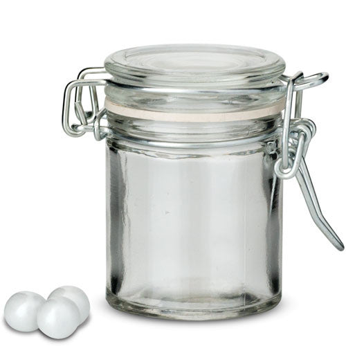 mini glass jar with metal wire snap pack of 12 candy cake weddings. Black Bedroom Furniture Sets. Home Design Ideas