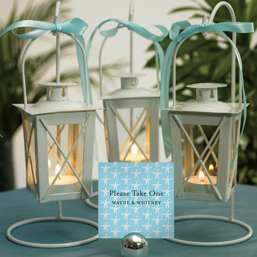 Mini Lantern Wedding Centerpieces (Shown with the Place Card Holders - Silver Round - not included)